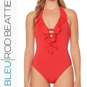 Bleu Rod Beattie Plunge Ruffle One Piece Swimsuit